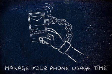 illustration of hand chained to a beeping mobile phone