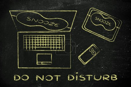 Photo for Do not disturb: set of technology devices with on silent with funny Snooze eye mask - Royalty Free Image