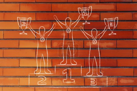 Photo pour Concept de victoire : champions avec trophées sur le podium - image libre de droit