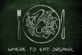 Koncepce, kde jíst organické