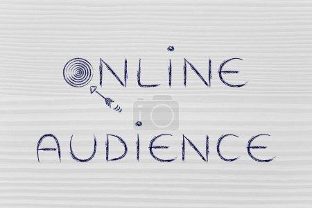 Photo pour Digital concepts de marketing : les mots « internautes », avec des objectifs réels et flèches - image libre de droit