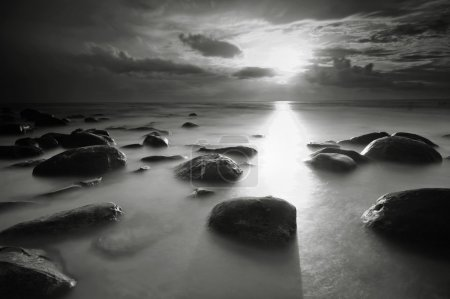 Photo for Beautiful sunset  beach in Thailand. Photo made in black and white - Royalty Free Image