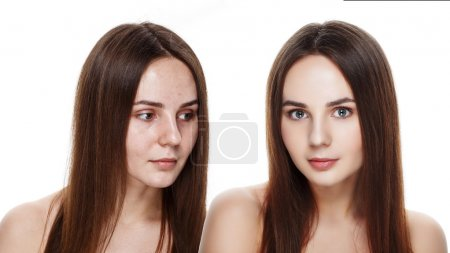 Beautiful young brunette model before and after make-up applying