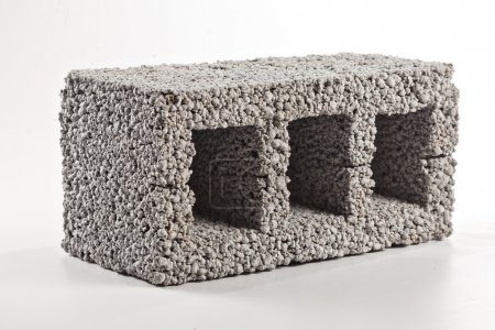 Gray concrete construction block from diatomite