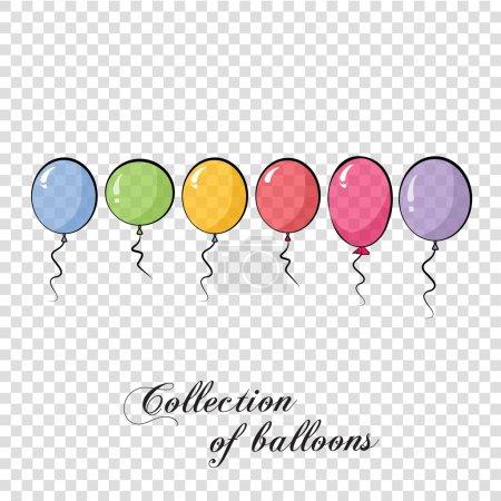 Illustration pour Collection de ballons de couleur. Fond avec des ballons multicolores. Vecteur 10 EPS. Transparent. Illustration vectorielle - image libre de droit
