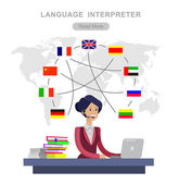 Vector detailed character Language translator concept with Language translator woman and world map with flags of world languages Language translator  illustration Vector Language translator