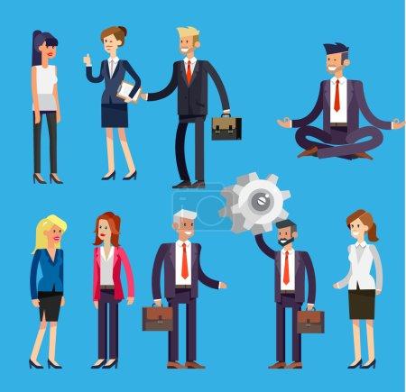 Illustration pour Ensemble de personnages vectoriels détaillés personnes, hommes d'affaires et femmes en action. Serrez la main, avec une mallette, secrétaire, grand patron, startup man, collègues, mode de vie d'affaires - image libre de droit