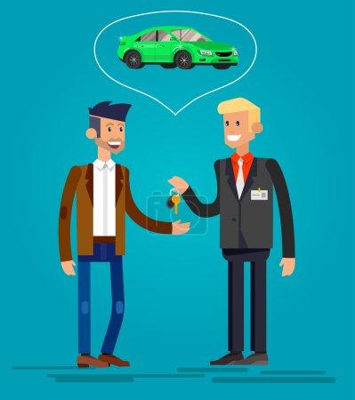 Illustration pour Concept de conception de choix et l'achat d'une voiture. Vecteur détail personnage acheteur et vendeur, illustration plate cool. Modèle de bannière Web - image libre de droit