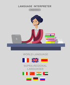 Vector detailed character Language translator concept with woman sitting on table with laptop and with flags of the world languages cool flat  illustration