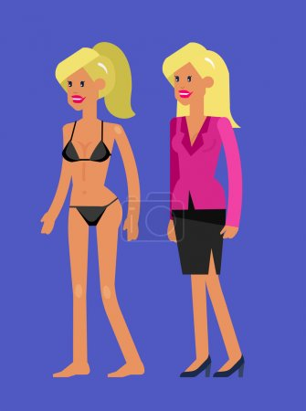 Vector detailed character woman dressed and undressed