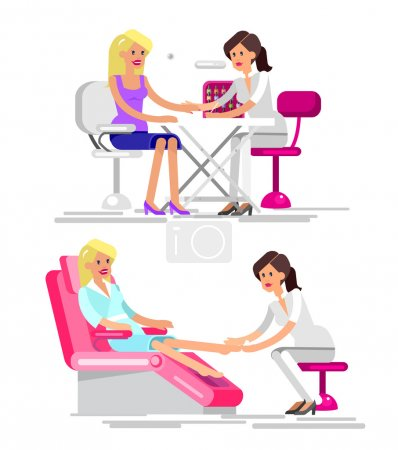 Detailed Manicurist character makes a professional...