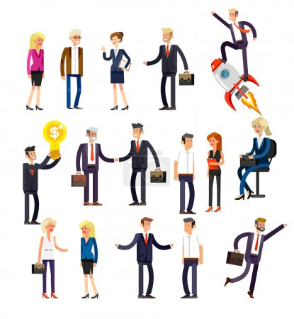 Photo pour Vecteur personnages détaillés personnes, hommes d'affaires et les femmes en action. Les gens d'affaires se serrent la main, avec une mallette, secrétaire, grand patron, homme de démarrage, collègues, mode de vie des gens d'affaires - image libre de droit