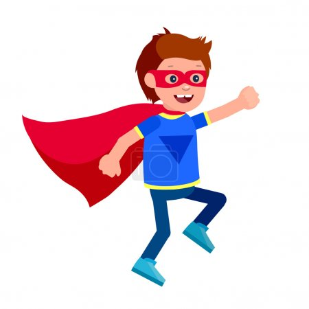 Illustration for Cute vector character child. Superhero kid. Happy kid illustration. Detailed character child. Super hero kids playing, fly, Super kids in action. Vector fun child. - Royalty Free Image