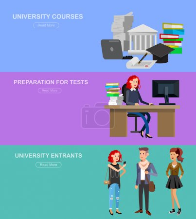 Illustration for Vector character graduate and students, university students graduation. University courses, online education, exam preparation. University education banner, vector graduate, illustration graduate - Royalty Free Image