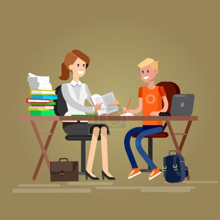 Illustration for Woman teacher tutor tutoring boy kid at home. Mother helping son with homework. Flat teacher, style vector teacher, teacher illustration - Royalty Free Image