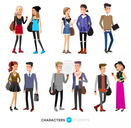 Illustration for Detailed character students, student Lifestyle, couple of young people in street clothes style. Illustration of character student. Vector flat student go to study - Royalty Free Image