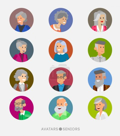 Cute cartoon human avatars set