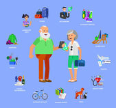 Vector detailed character senior senior age Old age couple and icons Pension hobbies and interests leisure of pensioner