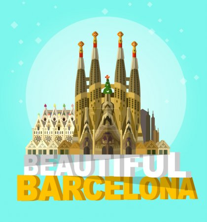 vector illustration of La Sagrada Familia - the impressive cathedral designed by Gaudi on a white background.