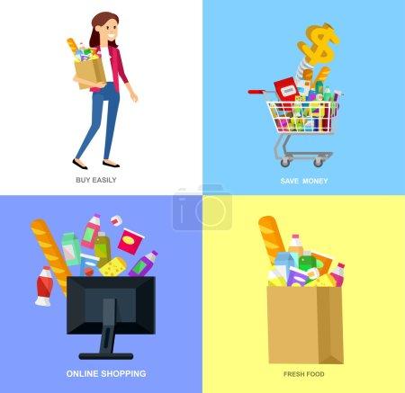 Illustration pour Bannière concept pour Shop, supermarché. Personnages vectoriels : supermarché, chariot, livraison, achats en famille. Alimentation saine et éco-alimentaire au supermarché. Illustration vectorielle plate pour supermarché . - image libre de droit