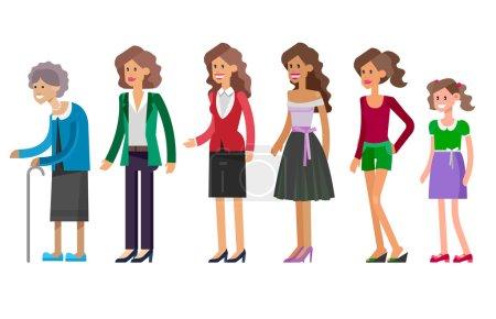 Illustration pour Femme de caractère détaillée Générations. Toutes les catégories d'âge - enfance, enfance, adolescence, jeunesse, maturité, vieillesse. Stades de développement isolés sur fond blanc - image libre de droit