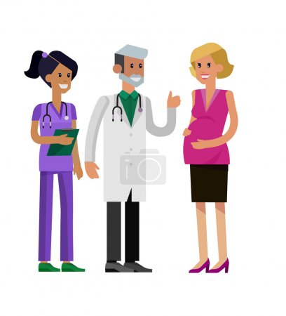 Illustration for Detailed character pregnant woman having a doctor visit in hospital. Gynecologist men and smiling nurse  indicates that everything is OK. Cool flat  illustration isolated on white background. - Royalty Free Image