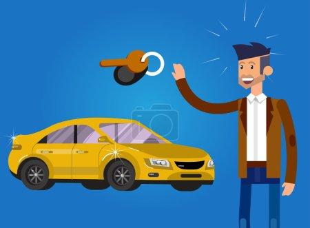 Illustration pour Concept de conception de choix et l'achat d'une voiture. Vecteur caractère détaillé acheteur et vendeur, illustration plate cool . - image libre de droit