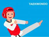 Cute vector character child Illustration for martial art poster Kid wearing kimono and taekwondo training