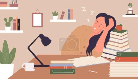 Illustration pour Fille fatiguée, épuisée par l'illustration vectorielle d'étude. Dessin animé jeune femme dormant à côté de livres, fille endormie personnage étudiant assis à la table, étudier dur avant l'examen à la maison fond intérieur - image libre de droit