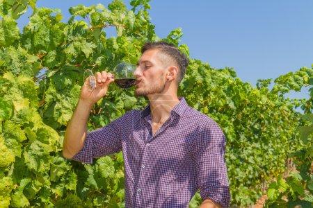 Jungbauer probiert ein Glas Rotwein
