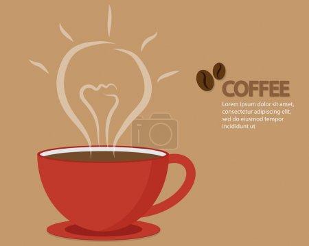 Illustration pour Obtenez des idées sur Happy Coffee Time, Obtenez des idées sur Red Cup of Coffee Illustration vectorielle - image libre de droit
