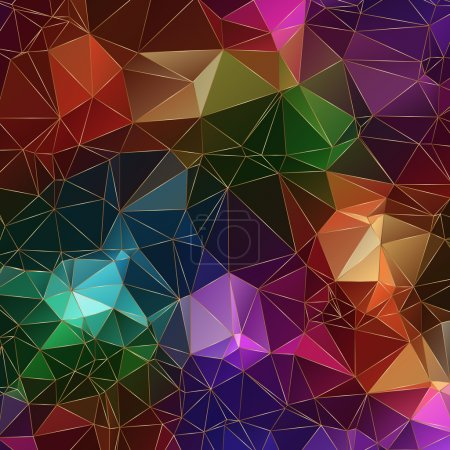 jewel stone polygonal background with bright colors an golden borders of triangles
