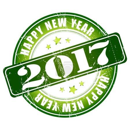 Happy New Year 2017 grunge rubber stamp.