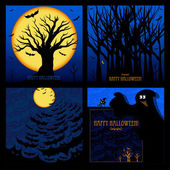 Set of Halloween Cards or Backgrounds Vector illustration