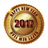 Happy New Year 2017 golden label and stamp with diamonds