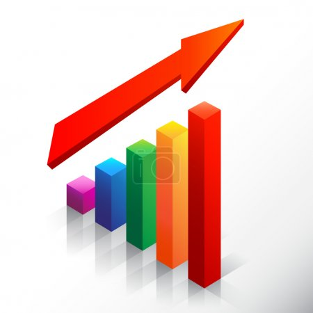 Colored bar chart emphasizing growth with arrow
