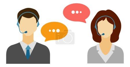 Illustration pour Les hommes et les femmes appellent des icônes avatar avec un homme et une femme sans visage portant des casques avec des bulles de parole . - image libre de droit