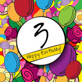 3 Happy Birthday background or card with colorful background and roses