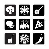 Black and white square Icons set for Italian pizza   food icons vector illustration