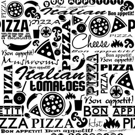 Illustration pour Pizza patron sans couture. Utile pour l'identité du restaurant, l'emballage, la conception de menu et la décoration intérieure . - image libre de droit