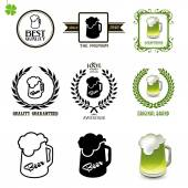 Beer set of vintage labels icons and logos with glasses of beer Set of black white and green silhouette circular laurel foliate and wheat wreaths depicting
