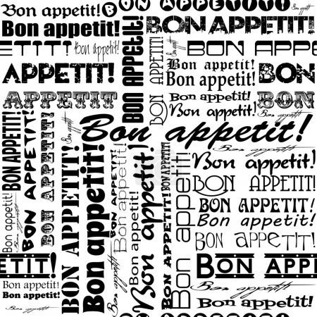 "Illustration for Seamless ""Bon appetit!"" pattern for the decoration and interiors of cafes, restaurants and bars - Royalty Free Image"