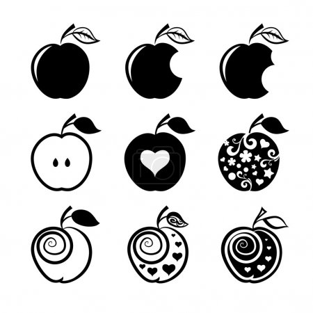 Monochrome grunge drawing apple