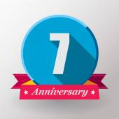 7 Anniversary label with ribbon