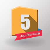 5 Anniversary label with ribbon