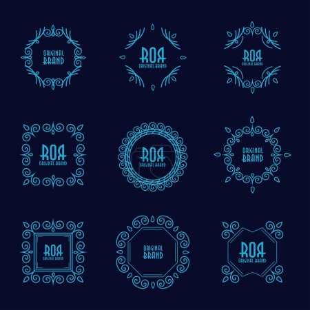 Photo for Abstract geometric frames set. Hipster style for logo, labels and badges. Monogram and emblem elements. - Royalty Free Image