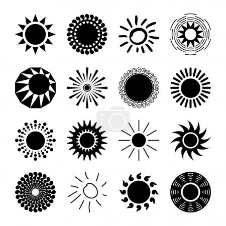 Illustration for Sun icons set for computing web and app. - Royalty Free Image