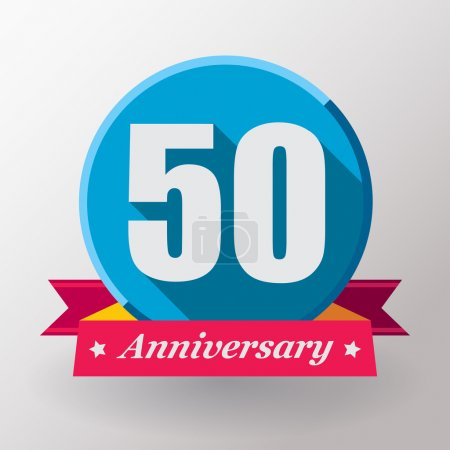 50 Anniversary label with ribbon
