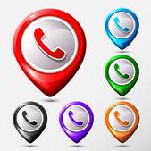 Phone Map location icons set