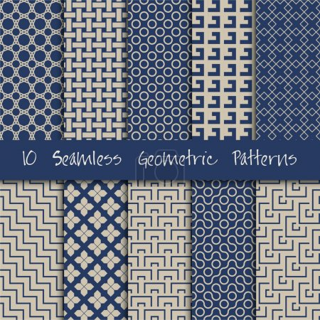 Photo for Grunge Seamless Geometric vector Patterns Set. - Royalty Free Image